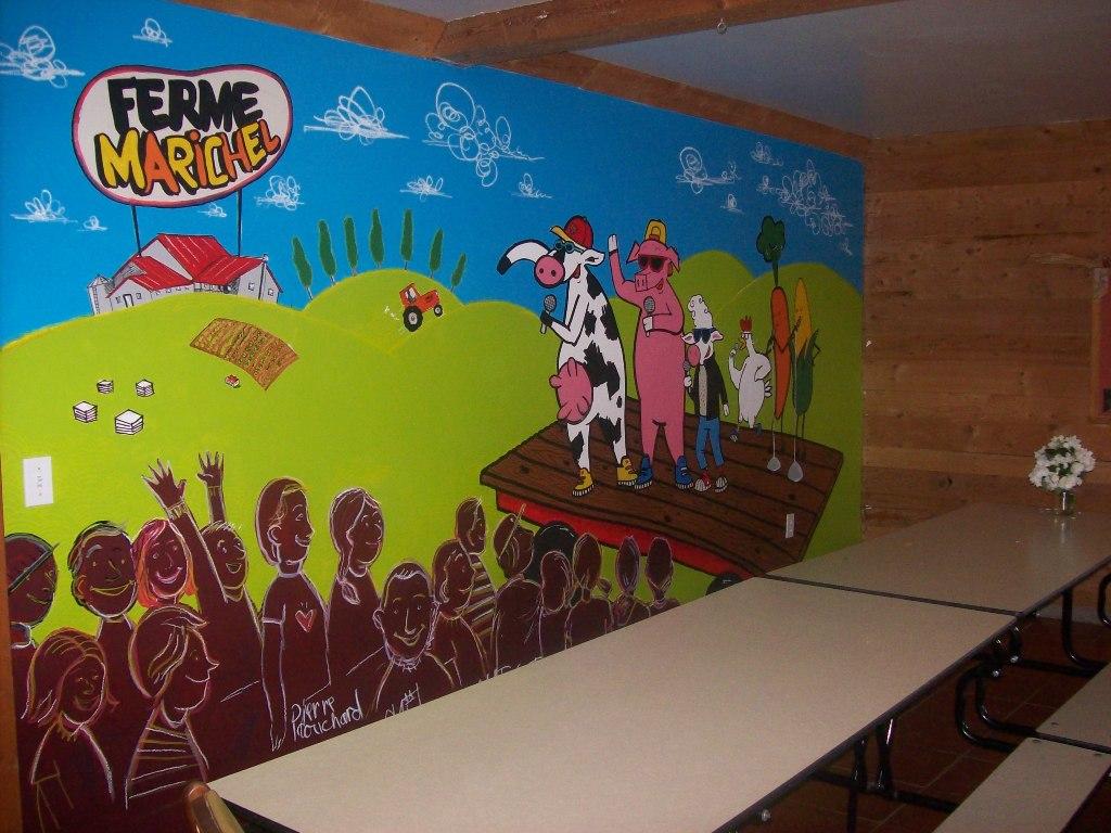 Ferme p dagogique marichel murale de la salle d ner for Salle a diner